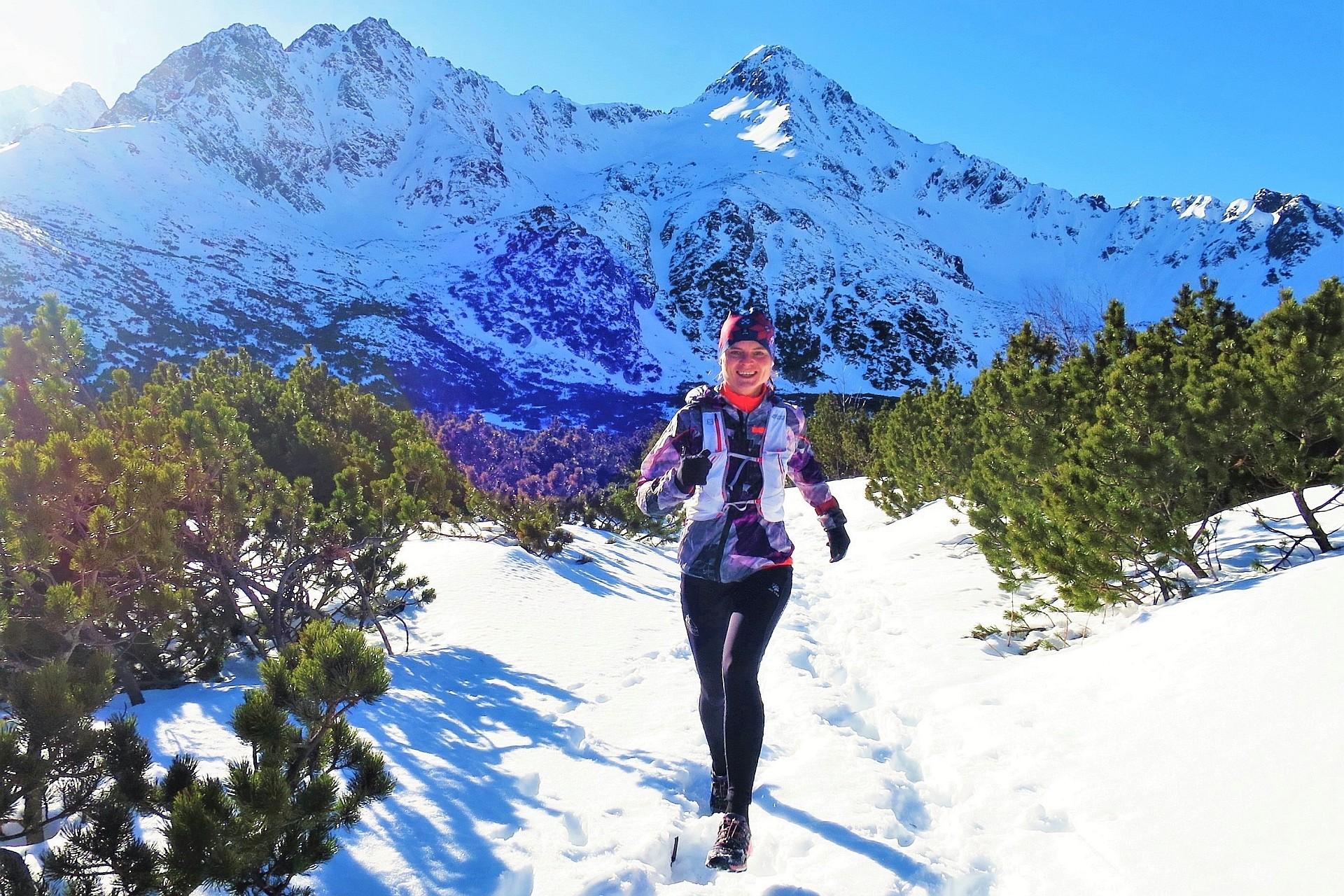 bieganie w Tatrach zimą. Białe Stawy, Tatry Słowackie