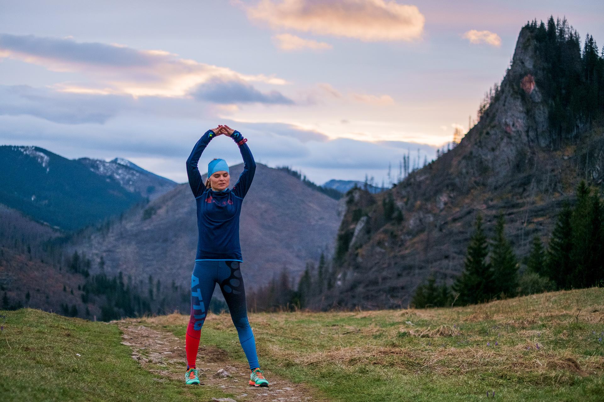 Joga, Tatry, biegaczka, zachód słońca, góry
